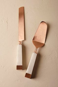 Marble & Copper Cake Serving Set