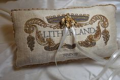 Ring Bearer Pillow - MIDAS TOUCH COLLECTION - Rings Bearer Exquisite Pillow Custom Embroidered with Monogram - Silk - Antique Trim by EmbroideryCollection on Etsy https://www.etsy.com/listing/128278330/ring-bearer-pillow-midas-touch