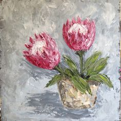 Glorious proteas By Juanette Menderoi Oil on board with pallet knife Protea Art, Palette Knife Painting, Annie Sloan, Oil Paintings, Still Life, Pallet, Group, Board, Prints