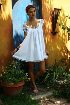 White Cotton Baby Doll Nightgown Shabby Chic Full Swing Lace Cap Sleeve Summer…