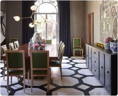 great floor pattern - would be awesome painted on a concrete patio...