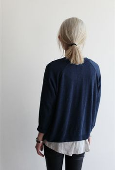 Navy jumper and shirt combo - chilled afternoon outfit