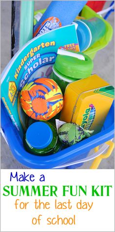 Great idea for the last day of school! Give your kids a summer fun kit loaded with toys and activities to keep them busy this summer!