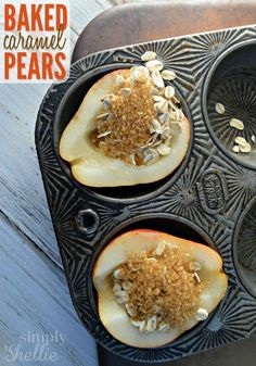 Baked Caramel Pears Baked Caramel Pears are such a simple, classic dessert. Not only do they taste delicious but just baking them makes the whole house smell lovely. Brownie Desserts, Just Desserts, Delicious Desserts, Yummy Food, Tasty, Fruit Recipes, Fall Recipes, Cooking Recipes, Pear Recipes Easy