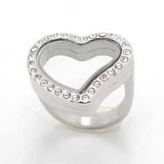 Heart Stainless Steel Floating Living Memory Ring w/ Stones – Your Charmed Story