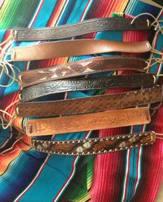 These are beautiful! Handmade Leather Jewelry, Leather Craft, Hippie Style, Hippie Boho, Leather Accessories, Hair Accessories, Leather Headbands, Leather Skin, Diy Headband