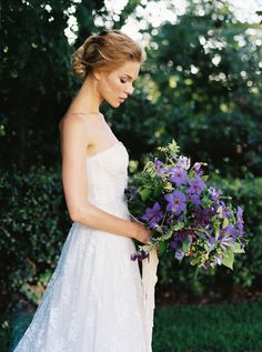 Elegant Victoria's Secret Bridals - Real Weddings - Once Wed Purple Wedding Bouquets, Bridesmaid Bouquet, Floral Wedding, Bridal Bouquets, Wedding Flowers, Eggplant Wedding, Bridal Brooch Bouquet, Once Wed, Flowers In Hair