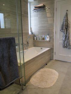 Master bathroom...I like this tile...horizontal stripes. different