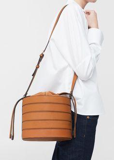 Leren bucketbag   MANGO