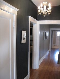 I wouldn't have thought of going this dark with the gray, but I really like it.  The chandelier is pretty, too!