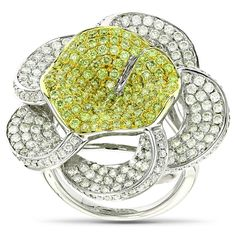 This Gold Natural Yellow Diamond Flower Ring in gold weighs approximately 16 grams and showcases carats of dazzling round diamonds. Featuring an intricate flower design and a highly polished gold finish, this diamond cocktail ring is availabl Diamond Flower, Gold Diamond Rings, Trendy Fashion Jewelry, Fashion Rings, Women's Fashion, Colored Diamonds, Ring Designs, 3 D, Yellow