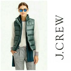 JCrew shiny puffer vest nwt size Medium Green Down filled nylon, boxy fit, machine wash J. Crew Jackets & Coats Vests