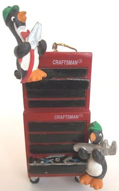 Mr. Christmas ornament Craftsman Tool Box Penguins Auto Shop 1996