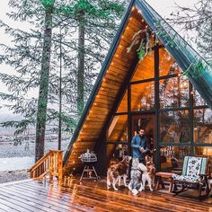 "Cabin of your dreams requires inspiration and ideas!!! "" A cozy 1960 a-Frame cabin right by gushing river, warm golden lights on a chilly day ... thank goodness for pictures or we'd forget how magnificent this place was."" - by @huskysquad ✅ Follow Our Posts @cabinlife_daily @survivalsupplyzone For more #cabinlife_daily"