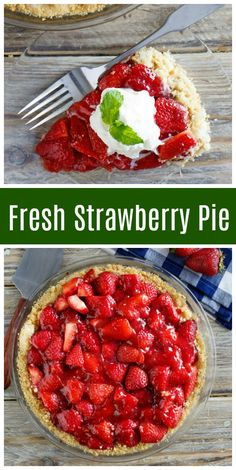 Fresh Strawberry Pie Easy Fresh Strawberry Pie recipe from via Köstliche Desserts, Delicious Desserts, Yummy Food, Alcoholic Desserts, Summer Recipes, Holiday Recipes, Strawberry Dessert Recipes, Best Strawberry Pie Recipe, Strawberry Tarts