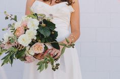 Romantic blush bouquet of wild flowers, vines, and blackberries by Honey and Poppies http://www.honeyandpoppies.com/