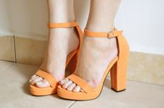 I love this pastel orange colour! cute heels!