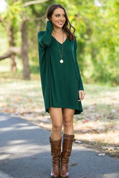 The Perfect Piko V-Neck Tunic Top-Forest Green