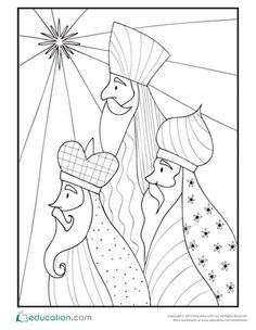 Have your child color this page of the three Magi as you tell him about Christmas. The three Magi used the stars as their navigation system. Christmas Nativity, Christmas Art, Christmas Projects, Holiday Crafts, Christmas Ornaments, Christmas Decorations, Christmas Drawing, Christmas Paintings, Three Wise Men