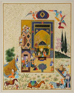 Stories of the Messengers by Haydar Hatemi Pichwai Paintings, Mughal Paintings, Islamic Paintings, Pakistan Art, Mughal Miniature Paintings, Jugendstil Design, Exotic Art, Medieval, Iranian Art