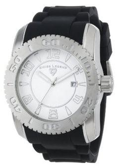 "Relógio Swiss Legend Men's 20068-02SET ""Commander"" Stainless Steel, Black Silicone, and White Dial Watch Set #Relogios #SwissLegend"