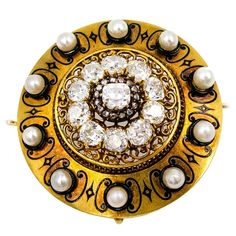Bold French Antique Enamel Pearl Diamond Gold Brooch | From a unique collection of vintage brooches at https://www.1stdibs.com/jewelry/brooches/brooches/