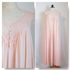Vintage Pink Long Nightgown by Miss Elaine Full Sweep Hemline Lace Bodice and Trim Size Medium Antron Nylon Full Length VintageHag.com