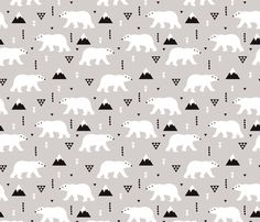 Cute polar bear winter mountain geometric triangle print XL fabric by littlesmilemakers on Spoonflower - custom fabric