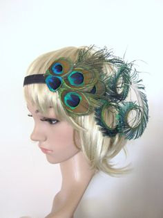Peacock feather 1920s flapper style headband