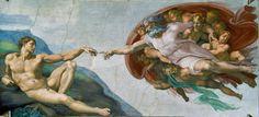 Michelangelo Buonarroti, la creazione di Adamo (parte della volta della Cappella Sistina, Vaticano 1511) Roma