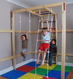 Indoor jungle gym for your home. Id put a baby gate around the area for the little one to keep them safe while mommy and daddy work out