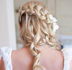 20 Long Wedding Hairstyles 2013 | Confetti Daydreams - A beautiful waterfall braided hairstyle with fresh flowers and soft curls ♥ #Wedding #Hair #Hairstyles #Long #Hairdos ♥  ♥  ♥ LIKE US ON FB: www.facebook.com/confettidaydreams  ♥  ♥  ♥