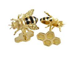 "Happy National Honey Bee Day! Celebrate with #Verdura's ""#Bee Cufflinks and Earstuds."