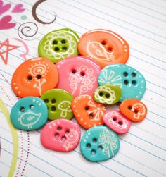 13 Wobbly Chipboard Epoxy Button Embellishments-Bright Spring Bird Buttons by The LemonDrop Tree, via Flickr