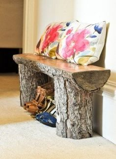 Tree stump bench... so cute for a sun room! Would