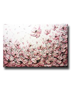 """ORIGINAL Art Abstract Painting Pink Poppies Flowers Pink White Grey Textured Large Art Home Wall Decor READY to SHIP 24x36"""" - Christine"""