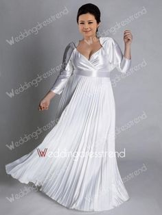 Luxurious A-line V-neck Floor-length Plus Size Wedding Dress