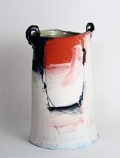 'Red, white, and black Riverbank Vessel' - - Inspired by mark-making and painting, Barry takes a… Earthenware Clay, Porcelain Ceramics, Ceramic Pottery, Pottery Art, Painted Porcelain, Ceramic Decor, Fine Porcelain, Hand Painted, Keramik Design