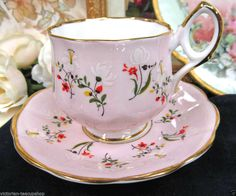 ROSINA TEA CUP AND SAUCER DELICATE PINK AND FLORAL TEACUP PAINTED