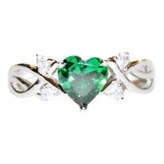 Emerald Rings | Home / Cubic Zirconia / Emerald Heart Shaped Ring – Green Cubic ...