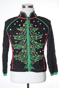 Tacky Christmas Tree Sweater from TheSweaterStore.com Christmas Tree Sweater, Ugly Xmas Sweater, Vintage Sweaters, Being Ugly, Party Ideas, Holidays, Hoodies, Board, Beauty