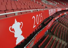 2015 FA Cup banner at Emirates Stadium unveiled on the 8 June, 2015.