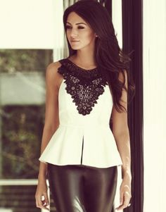 Michelle Keegan Lace Detail Peplum Top