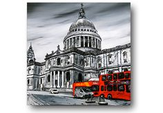 London Painting, Abstract London, Black and White Painting, 24x24