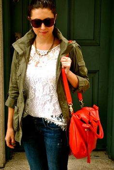j crew army style   jacket | (gift) / J.Crew Necklace / ModCloth Lace Top (gift/old) / H&M Jacket ...