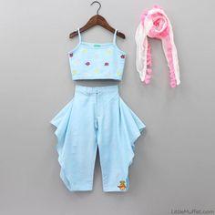 Pre Order: Yellow And Blue Lehenga - Top Baby Girl Frocks, Frocks For Girls, Little Girl Dresses, Kids Indian Wear, Kids Ethnic Wear, Kids Dress Wear, Kids Gown, Baby Frocks Designs, Kids Frocks Design