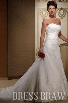 Gorgeous A-line/Princess Square Chapel Embroidery Wedding Dresses 3AA0503 : Dressbraw.com