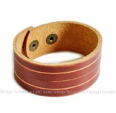 Brown leather bracelet antique cuff bracelet by braceletbanglecase, $9.00