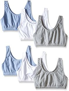 Fruit of the Loom Womens BuiltUp Sports Bra Heather GrayWhiteHeather Blue 42 Pack of 6 *** Click image to review more details.
