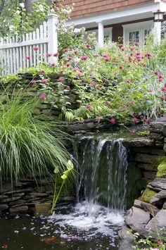 Landscape waterfall feature design